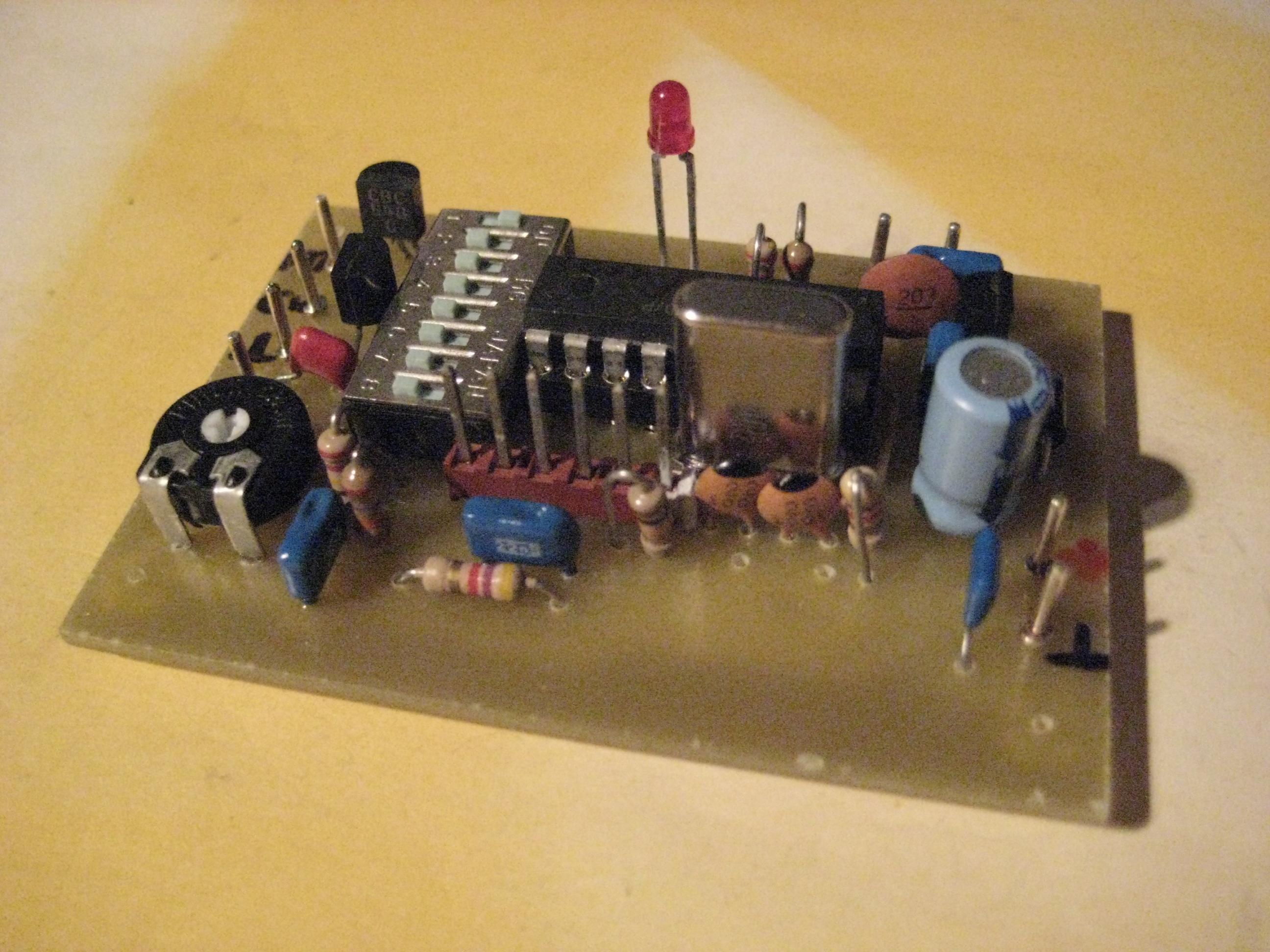 Platine mit DIP-Schalter Prozessor und Kontroll-LED